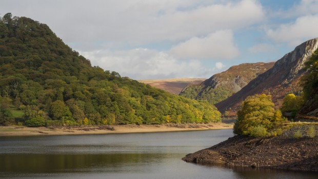 The garreg ddu reservoir, water hills and trees