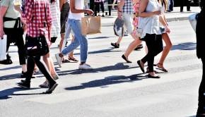 Pedestrian crowd walking